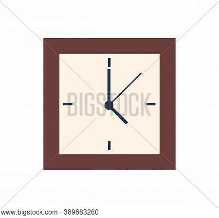 Square Clock Isolated Wall Watch Showing 5 Oclock. Vector Time Measurement Device, Alarm With Minute