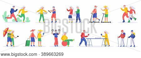 Active Elderly People. Senior Elderly Couples, Grandfather And Grandmother Exercising And Travelling