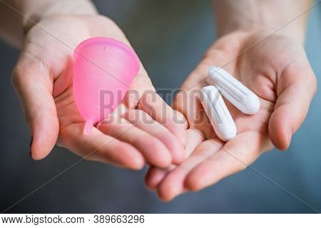 Female Tampon. Menstrual Tampons For Womens Health Care, Cotton Tampon, Intimate Hygiene, Gynecologi