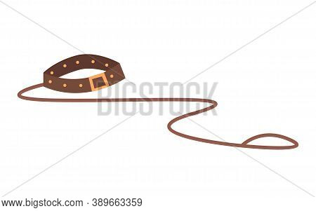 Leather Brown Animal Strap With A Leash. Accessory For The Dog. Walk Your Pet. Leash With Iron Eyele