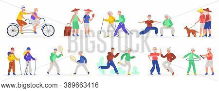 Active Elderly Couples. Senior Elderly Couple, Healthy Sporty Grandmother And Grandfather, Old Peopl