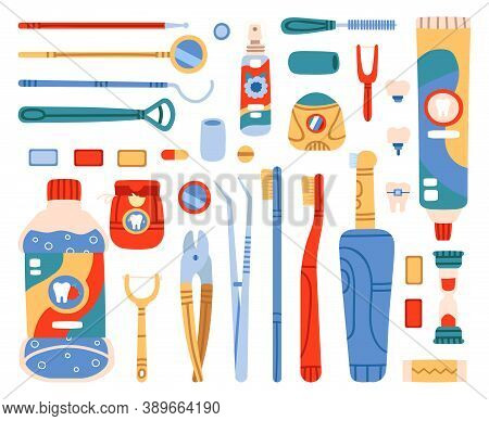 Dental Cleaning Tools. Toothbrush, Toothpaste, Dental Floss, Mouth Cleaning And Oral Hygiene Hand Dr