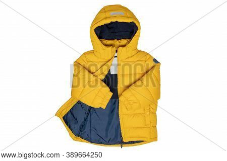 Winter Jackets For Children. Stylish, Yellow, Warm Down Jacket For Children With Removable Hood, Iso