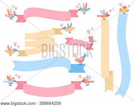 Birds With Ribbon. Cute Little Flying Birds Holding Ribbon Banners, Hand Drawn Birds With Banners Ve