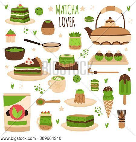 Matcha Products. Japanese Matcha Powder Preparation Tools, Matcha Delicious Sweets, Pastry, Ice Crea