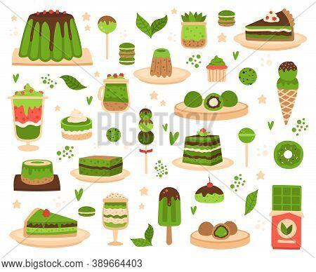 Matcha Desserts. Japanese Matcha Powder Products, Mochi, Ice Cream, Cake, Macarons And Pudding, Matc