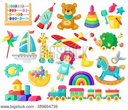 Cartoon Baby Toys. Child Toys, Bear, Doll, Logic Toys, Train, Boys And Girls Inventory For Kids Game