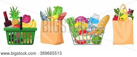 Supermarket Grocery Bags. Shopping Baskets And Bags, Plastic, Paper Purchases Packages, Shopping Bag