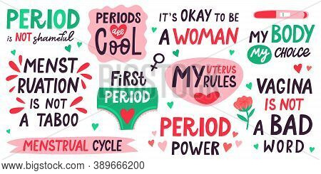 Menstruation Lettering. Menstrual Cycle Quotes, My Uterus My Rules, Menstruation Is Not Taboo. First