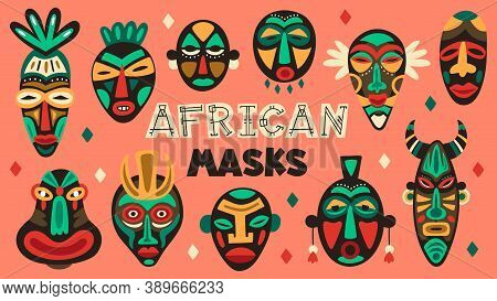 African Ancient Masks. Tribe Ethnic Mask, Ritual Totem Religion Face Masks, Aztec, African And Hawai