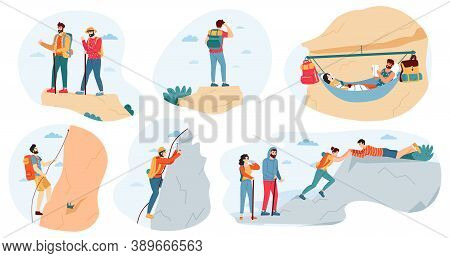 Mountain Climbers. Active Outdoor Activity, Climbers Group And Tourists, Extreme Lifestyle, Trekking
