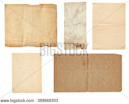 Set Of Old Vintage Rough Paper With Scratches And Stains Texture