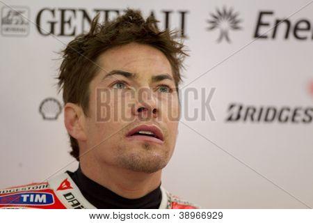 CHESTE - NOVEMBER 9: Nicky Hayden during MOTOGP of the Comunitat Valenciana, on November 9, 2012, in Ricardo Tormo Circuit of Cheste, Valencia, Spain