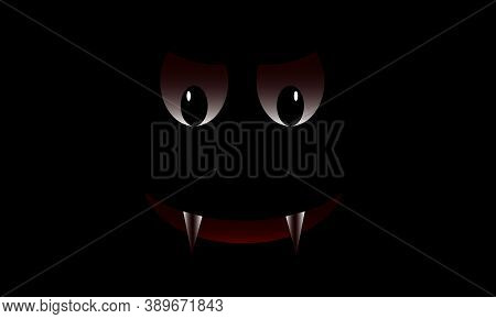 Scary Face On A Black Background. Decor Element For A Scary Party. A Vampire. Halloween Vector.