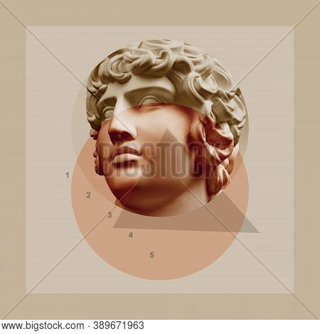Art Collage With Antique Sculpture Of Human Face And Numbers, Geometric Shapes. Beauty, Fashion And