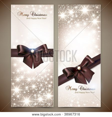 Collection of gift cards and invitations with ribbons. Vector background