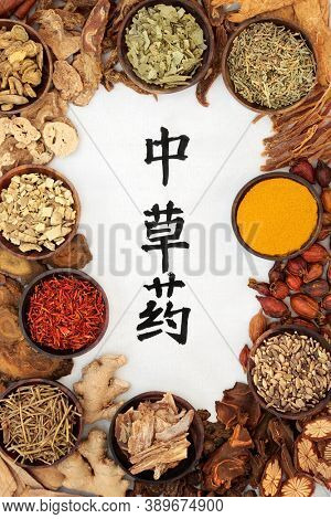 Chinese healing herb collection used in traditional herbal medicine with calligraphy script on rice paper  background. Flat lay. Translation reads as chinese healing herbs.