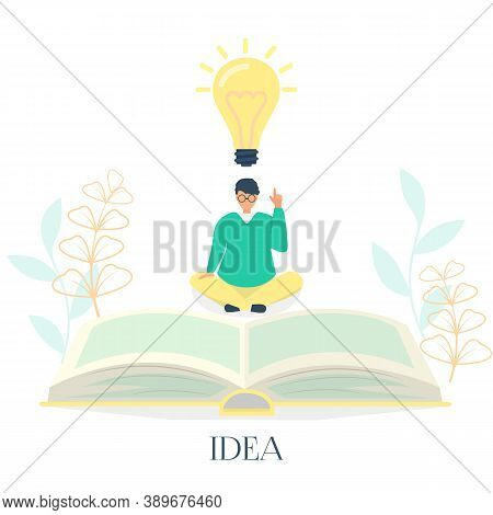 I Have An Idea Landing Page. Businessman Sitting In Lotus Pose Points To An Idea Symbol. Vector Illu