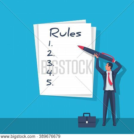 Rules Concept. Businessman Write In Notebook Regulations. Checklist With Requirements. Rule List On
