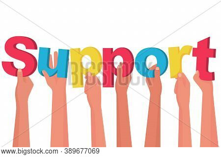 Landing Page Support. Word Support. Group People Holding Colorful Letter. Vector Illustration Flat D