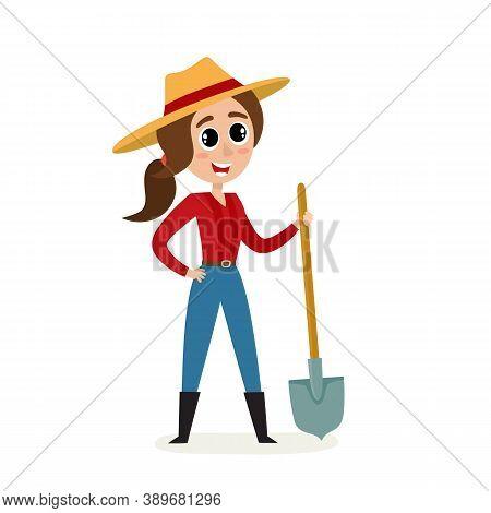 Cartoon Woman Farmer With Shovel Isolated On White.