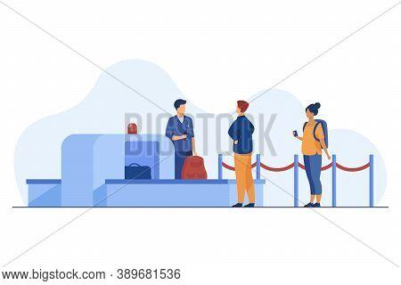 Airport Worker Checking Passenger Belongings Through Scanner. Boarding, Control. Flat Vector Illustr