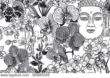 Buddha's Head And Exotic Tropical Flowers Orchids. Black And White Floral Seamless Pattern. Vector I