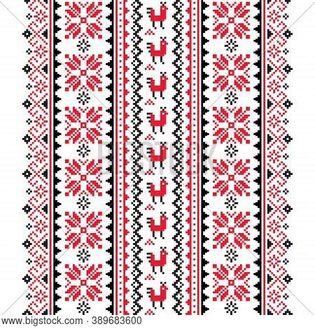 Ukrainian, Belarusian Folk Art Vector Seamless Pattern In Red And Black, Inspired By Traditional Sti