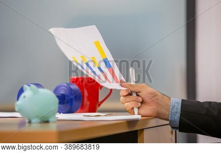 Close Up Of Hand Hold Paper Documents, Businessman Holding Papers Hands In Modern Coworking Office,