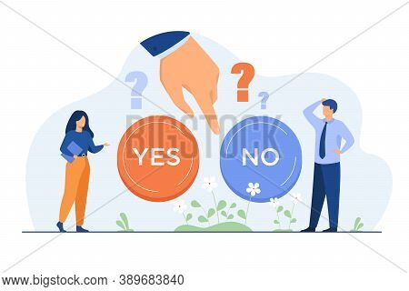 Thoughtful People Making Difficult Choice Between Two Options Isolated Flat Vector Illustration. Car