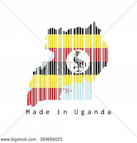 Barcode Set The Shape To Uganda Map Outline And The Color Of Uganda Flag On White Background, Text: