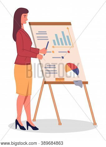 Confident Young Woman In Business Suit Giving Presentation, Pointing To Big Billboard With Analytic
