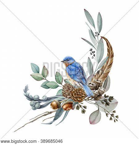 Floral Forest Arrangement Watercolor Illustration. Hand Drawn Elegant Rustic Decor With Natural Elem