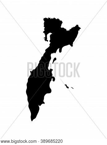 Vector Isolated Simplified Illustration With Black Silhouette Of Kamchatka Krai (federal Subject Of