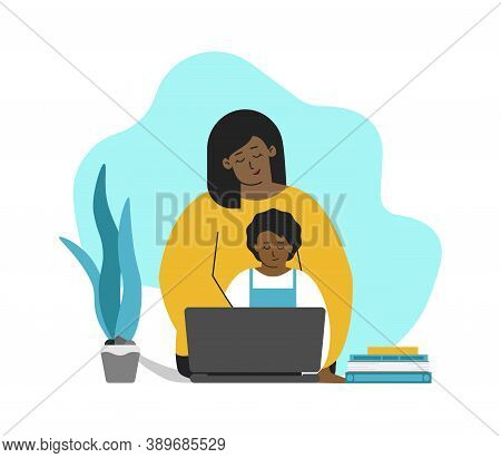 Vector Isolated Concept In Flat Style. African American Mother And Kid Are Sitting With Laptop. Onli