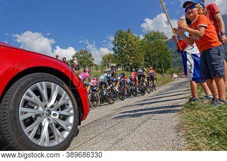 Revel, France, September 15, 2020 : Spectators Applause Racers Of Tour De France. Tour De France Has