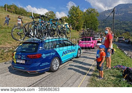 Revel, France, September 15, 2020 : Cars Of Racing Teams Of Tour De France. Tour De France Has Been