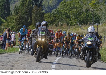 Revel, France, September 15, 2020 : Press Motorbikes In Front Of The Peloton On The Tour De France R