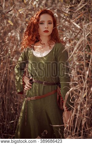 Gorgeous celtic girl with beautiful red hair in reeds. Historical reconstruction.