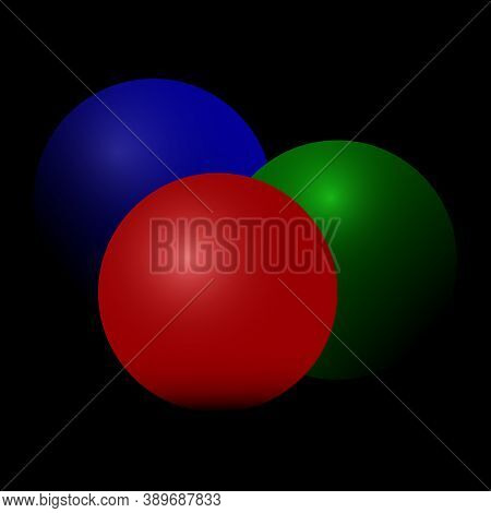 Spheres Of Different Colors On A Black Background. Red Sphere. Blue Ball. Green Ball. Black Backgrou