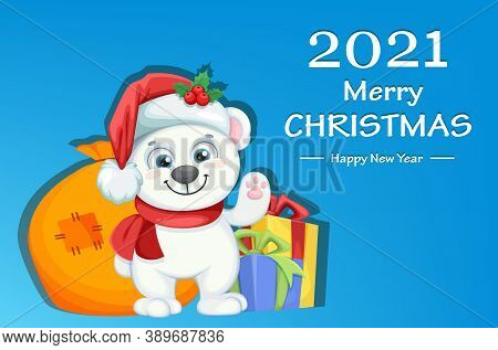 Cute Polar Bear Cartoon Character Standing With Presents. Merry Christmas And Happy New Year Greetin