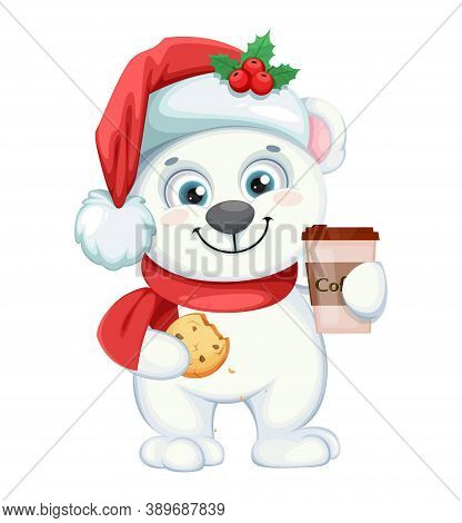 Cute Polar Bear Cartoon Character With Coffee And Cookie. Merry Christmas And Happy New Year. Vector