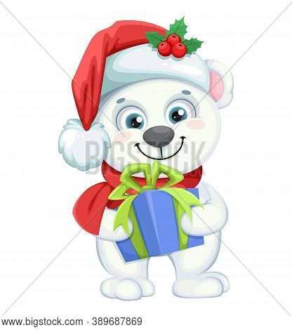 Cute Polar Bear Cartoon Character Holding Gift Box. Merry Christmas And Happy New Year. Vector Illus