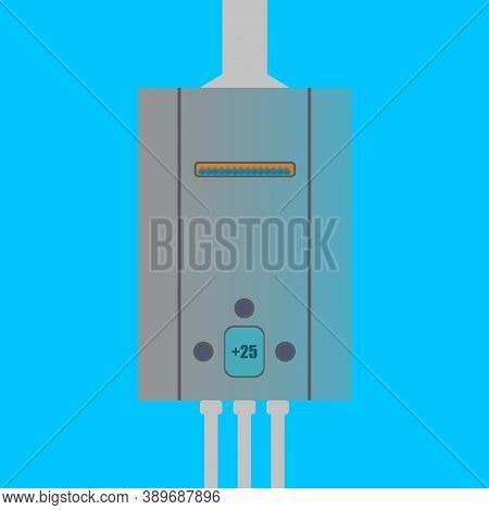 Gas Water Heater For Heating Water In The House. Winter Heating Season In The Apartment. Gas Equipme