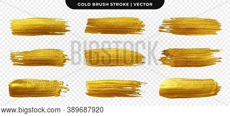 Golden Paint Brush Stroke. Set Of Gold Paint Smear With Glittering Texture. Realistic Gold Brush Str