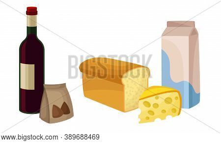 Variety Of Food From Supermarket With Loaf Of Bread And Cheese Slab Vector Set