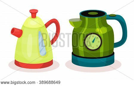 Kettle As Pot For Boiling Water With Lid, Spout And Handle Vector Set
