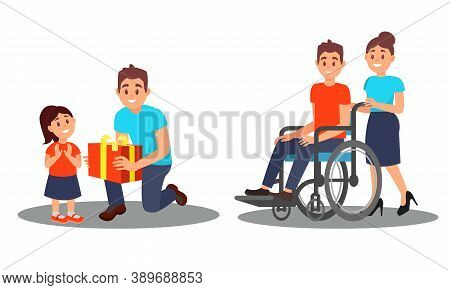People Characters Giving Gift Box To Orphan And Helping Disabled On Wheelchair Vector Illustration S
