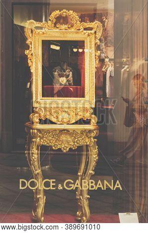 Dolce And Gabbana Fashion Showcase In Milans Fashion District, Montenapoleone Area. Gabbana Is An It