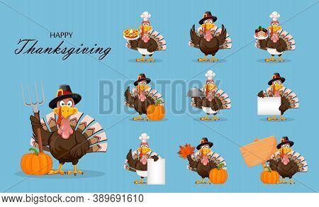 Happy Thanksgiving Day. Funny Cartoon Character Thanksgiving Turkey Bird, Set Of Ten Poses. Vector I
